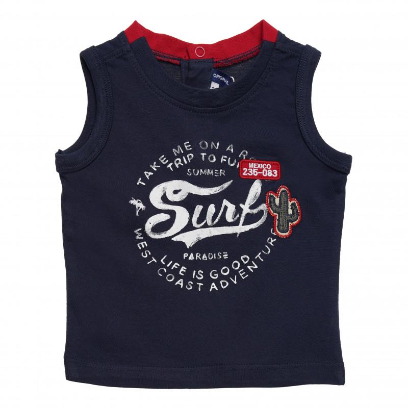 Βαμβακερό μπλουζάκι μωρού, σκούρο μπλε / κόκκινο  126442