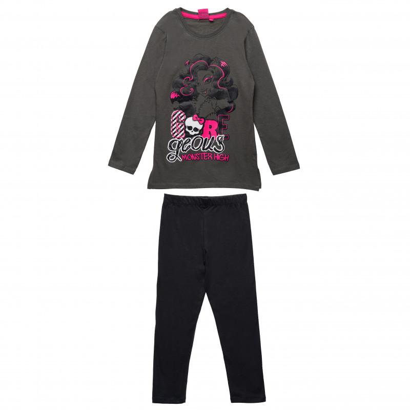 Σετ από δύο μέρη από βαμβάκι: μπλούζα και παντελόνι για ένα κορίτσι, εκτύπωση Monster High  143895