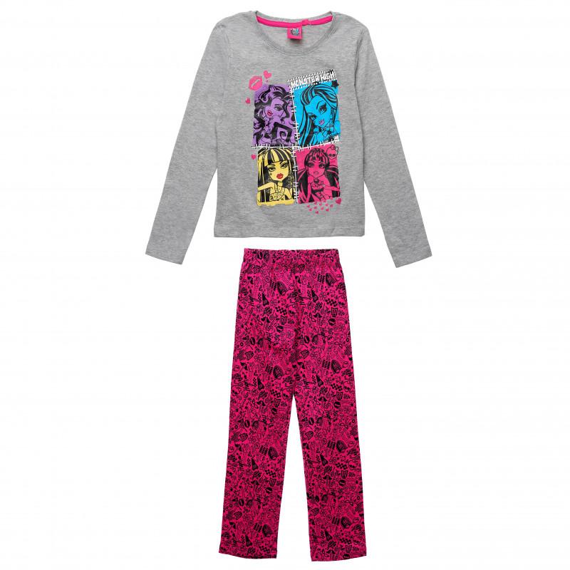 Πολύχρωμα βαμβακερά σετ μπλούζα και παντελόνι για ένα κορίτσι  143920