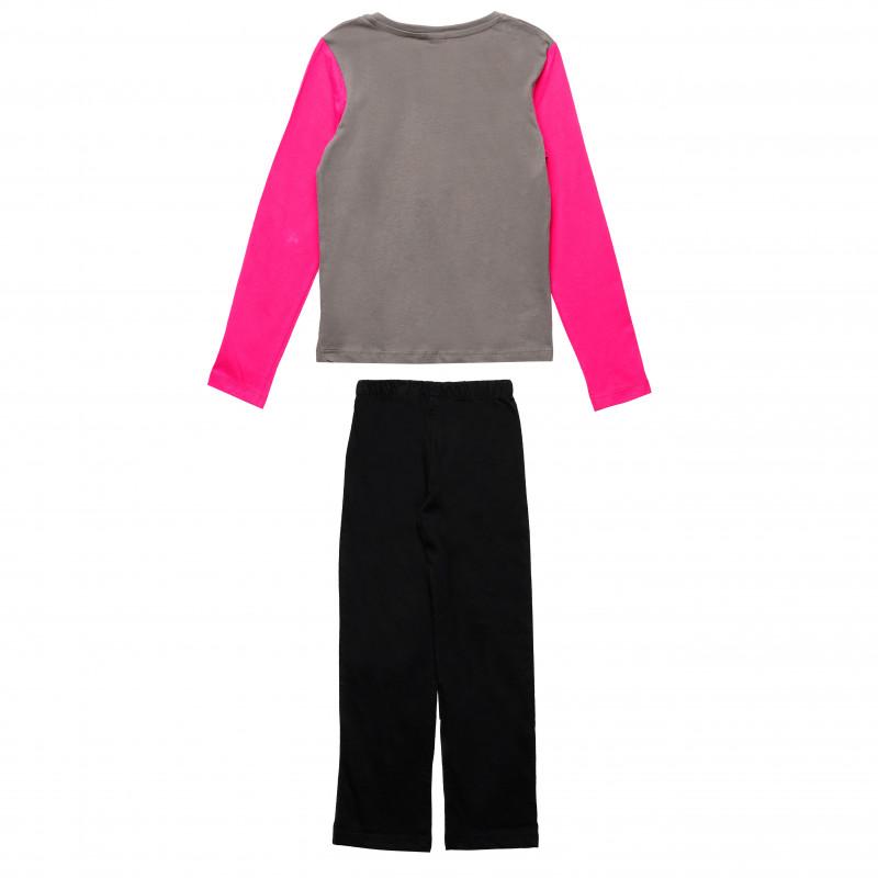Σετ βαμβακερή μπλούζα και παντελόνι για ένα κορίτσι, πολύχρωμα  143938