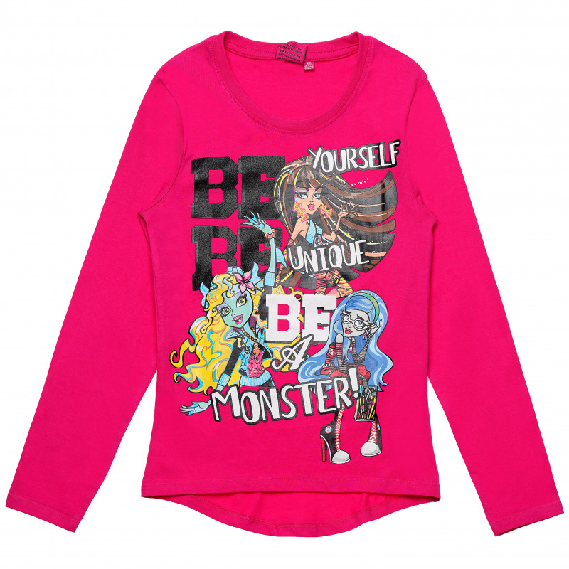 Βαμβακερή κορίτσια Monster High print Ροζ βαμβακερή μπλούζα  143973