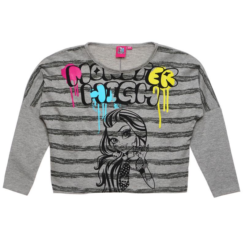 Γκρι βαμβακερή μπλούζα για κορίτσι  144004