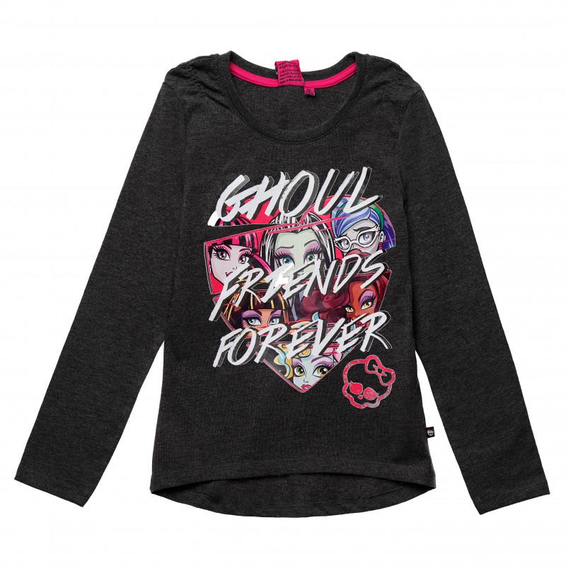Βαμβακερή μπλούζα για ένα κορίτσι, σε γκρι χρώμα  144018