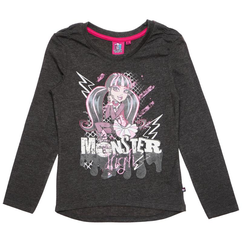 Βαμβακερή μπλούζα για ένα κορίτσι, γκρι  144038