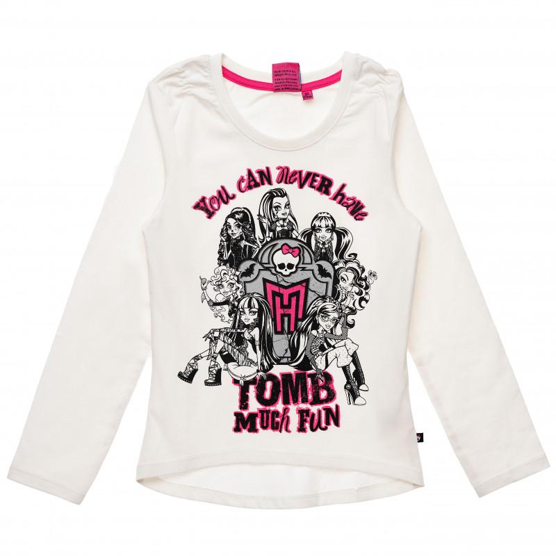 Βαμβακερή μπλούζα για ένα κορίτσι, λευκού χρώματος  144059