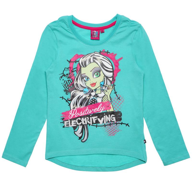Βαμβακερή μπλούζα για ένα κορίτσι, πράσινο χρώμα  144085