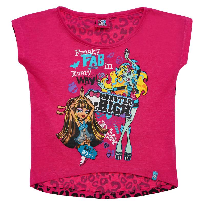 Κοντομάνικη μπλούζα, ασύμμετρη για ένα κορίτσι, ροζ  144096