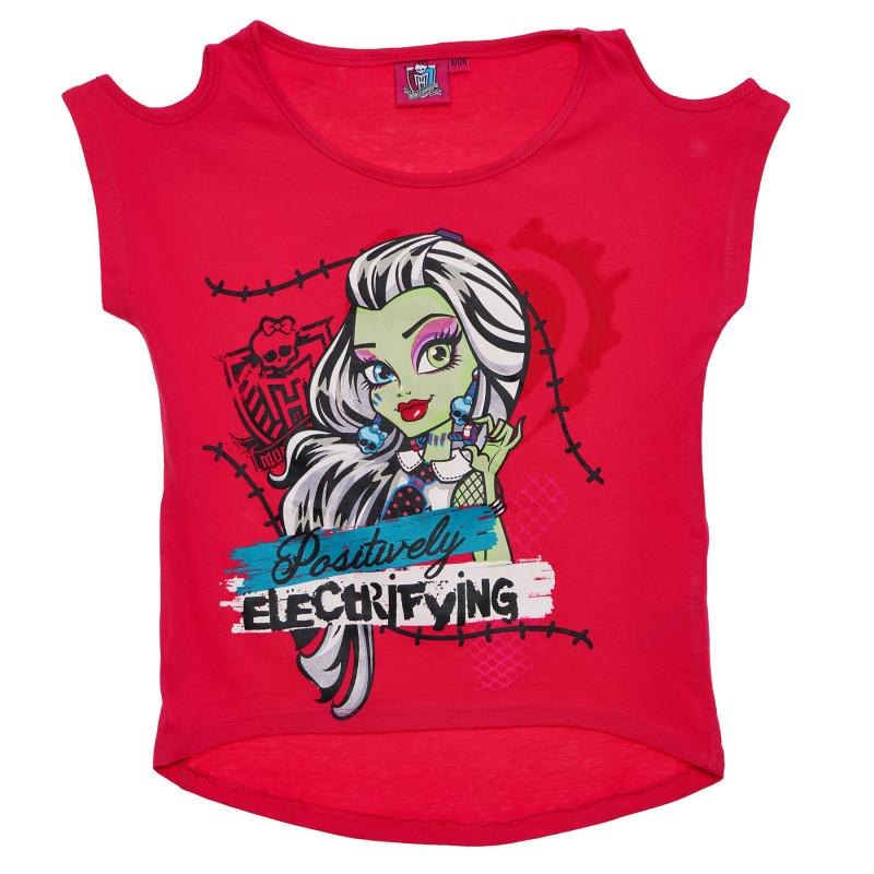 Βαμβακερό μπλουζάκι για κορίτσια, κόκκινο χρώμα  144101