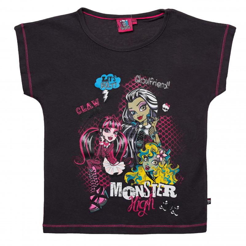 Μαύρο-Βαμβακερό μπλουζάκι για κορίτσια  144106