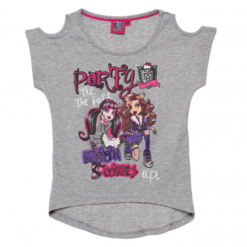 Κορίτσια μπλουζάκι από γκρι χρώμα βαμβακιού  144114