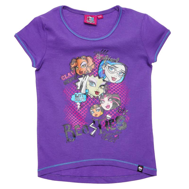Μπλούζα για κορίτσια από βαμβάκι, μωβ  144202