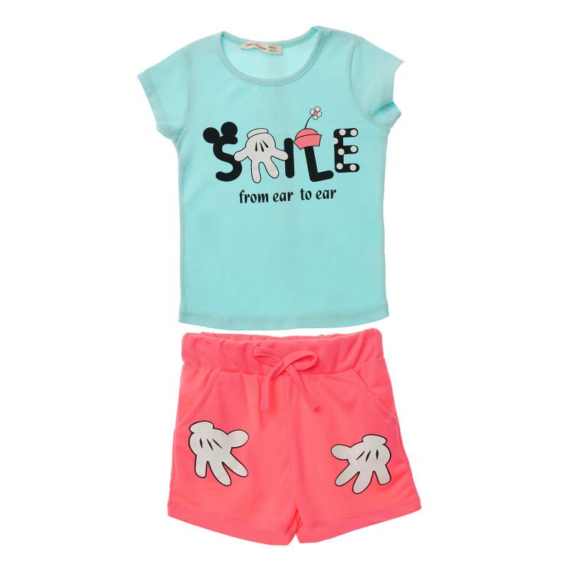 Σετ μπλούζα και σορτς σε ροζ για ένα κορίτσι  148120
