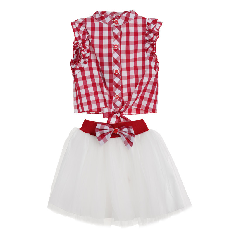 Κορίτσια κόκκινο και λευκό καρό φανελάκι με λευκή φούστα  148190