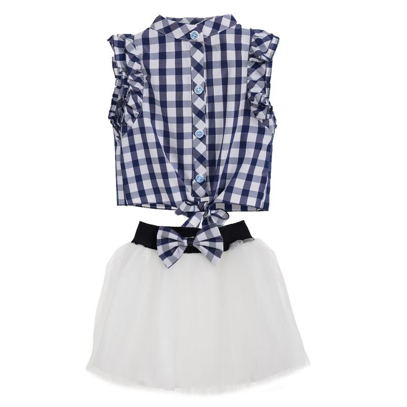 Μπλε και άσπρο καρό σετ κοπέλας με λευκή φούστα  148197