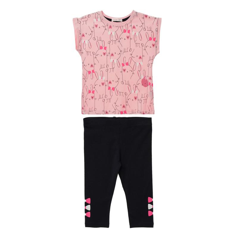 Κορίτσια 2 τεμάχια με ροζ μπλούζα κοντομάνικο και μαύρο κολάν  148212