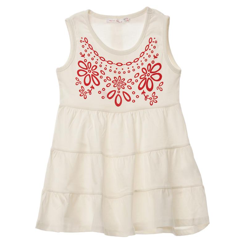 Λευκό αμάνικο βαμβακερό φόρεμα με τύπωμα  148237