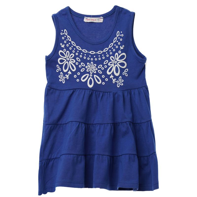 Γυναικείο μπλε αμάνικο βαμβακερό φόρεμα με τύπωμα  148245