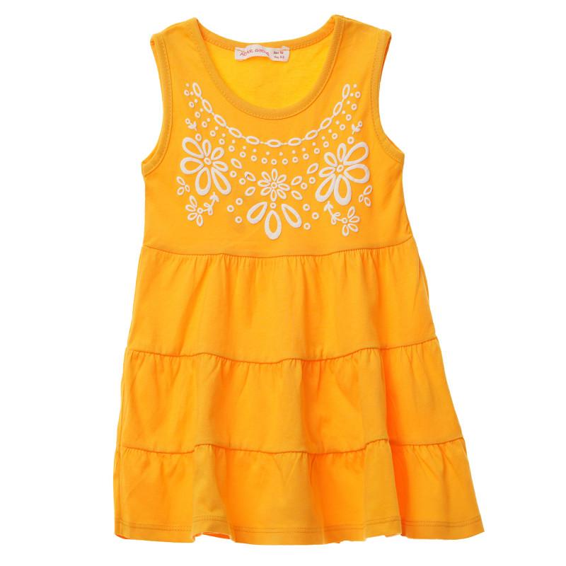 Κορίτσια κίτρινο αμάνικο βαμβακερό φόρεμα με τύπωμα  148253
