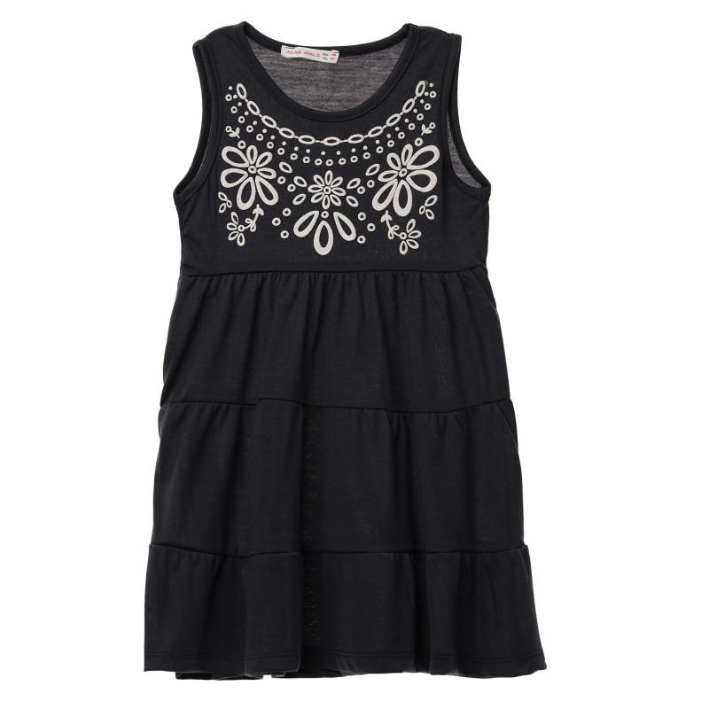 Κορίτσια σκούρο μπλε αμάνικο βαμβακερό φόρεμα με τύπωμα  148257