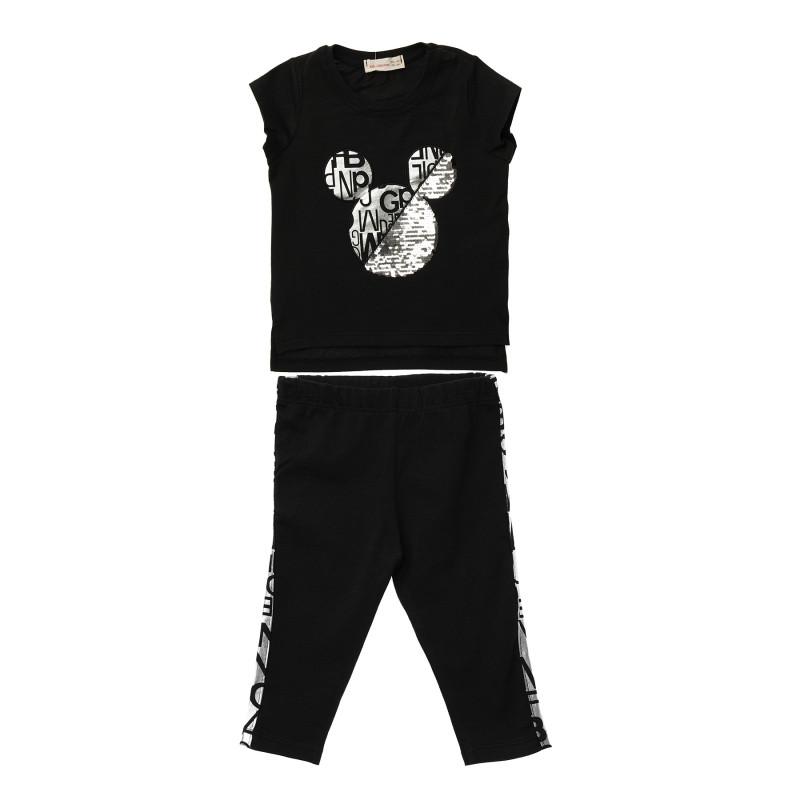Κορίτσια 2 τεμάχια σετ με μαύρο κοντομάνικο μπλουζάκι και μαύρο κολάν  148261