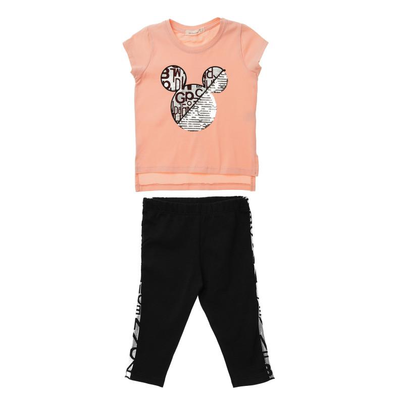 Κορίτσια 2 τεμάχια με κοντομάνικο πουκάμισο ροδακινί και μαύρο παντελόνι  148268