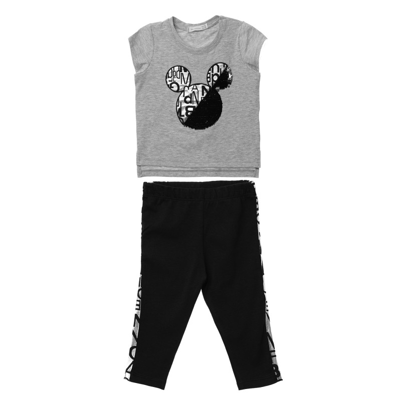 Κορίτσια 2 τεμάχια με γκρι κοντομάνικο μπλουζάκι και μαύρο κολάν  148274