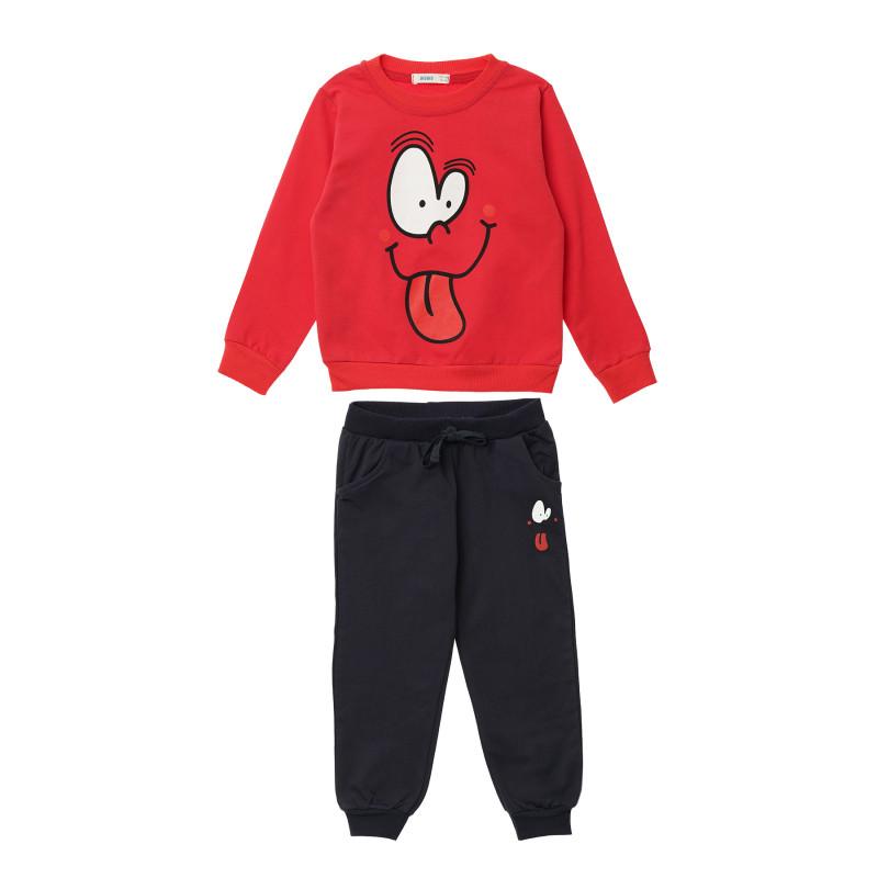 Κορίτσια 2 τεμάχια με κόκκινο μακρυμάνικο μπλουζάκι και μαύρο παντελόνι  148294