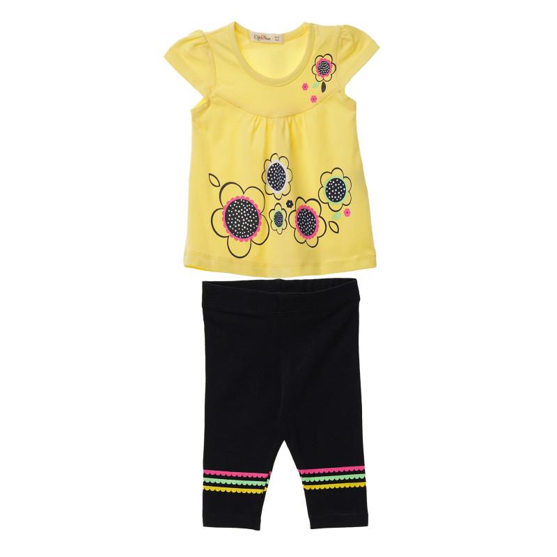 Κορίτσια 2 τεμάχια με κίτρινο κοντομάνικο μπλουζάκι και μαύρο κολάν  148315