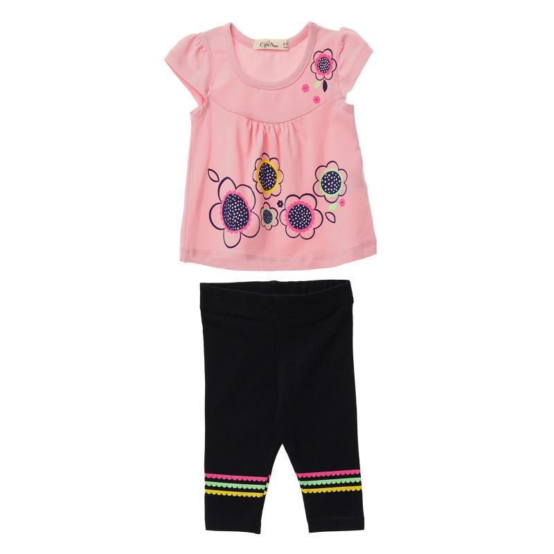 Κορίτσια 2 τεμάχια με ροζ κοντό μανίκι και μαύρο κολάν  148322