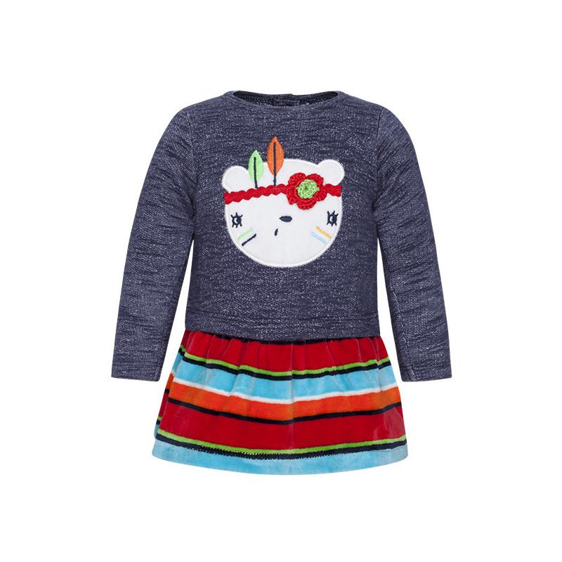 Μαλακό, μακρυμάνικο φόρεμα για κορίτσι, με χαρούμενα απλικέ σχέδια  1494