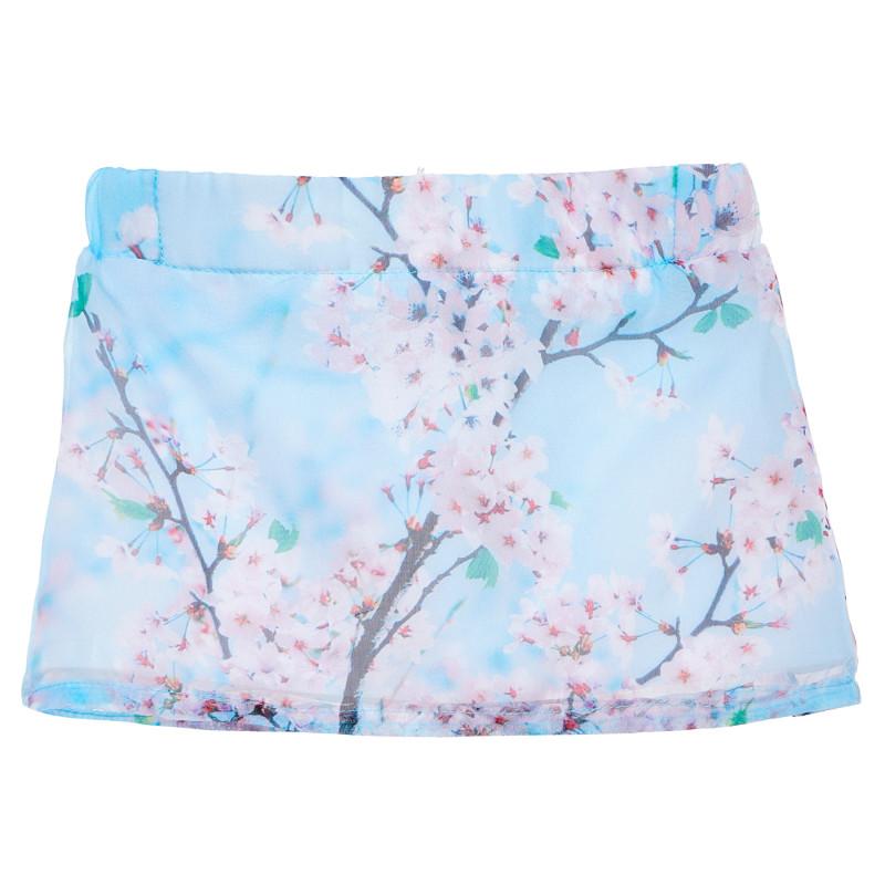 Φούστα για κορίτσια με floral τύπωμα, μπλε  152311