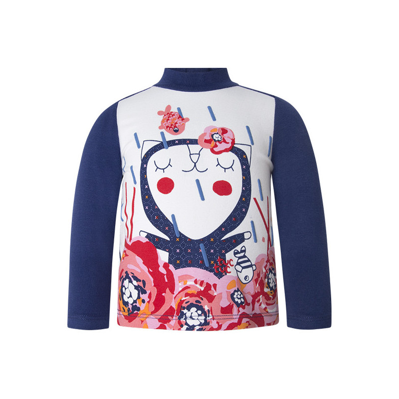 Μακρυμάνικη μπλούζα πόλο με χαρούμενη διακόσμηση για κορίτσι  1632