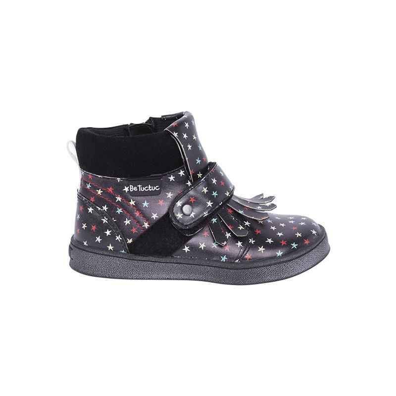 Μαύρες μπότες για κορίτσια με πολύχρωμα αστέρια και κρόσσια  1697