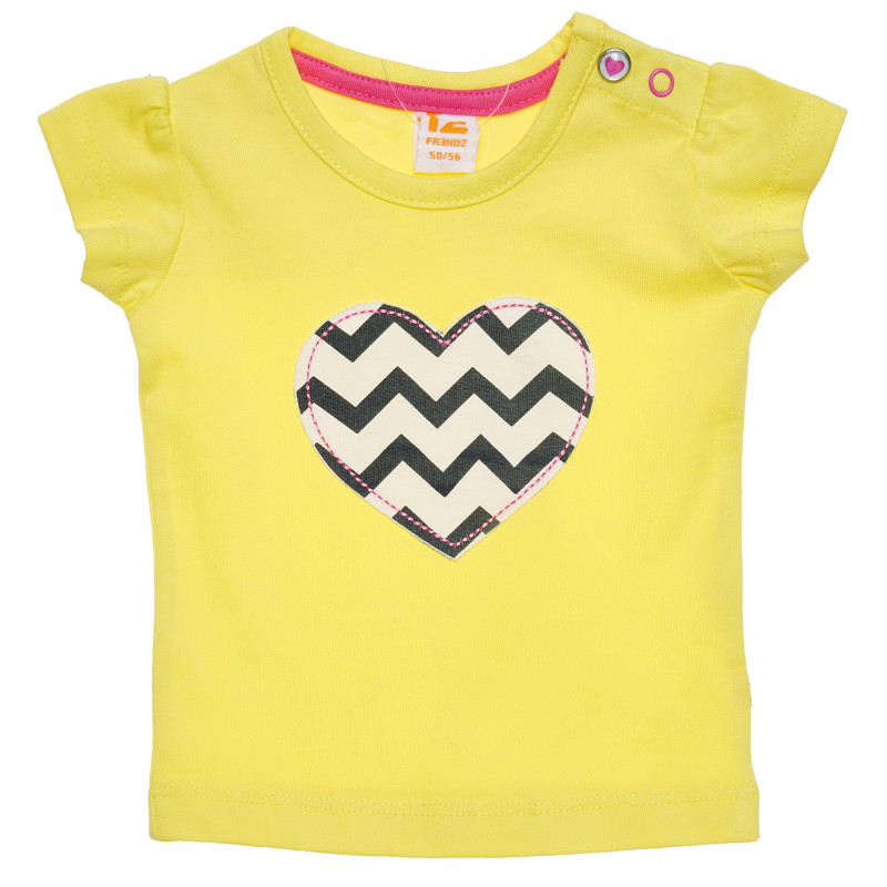 Βαμβακερό μπλουζάκι για μωρά, κίτρινο με σχέδιο καρδιάς  182057
