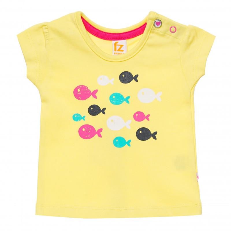 Βαμβακερό μπλουζάκι για μωρά, κίτρινο με σχέδια ψαριών  182061