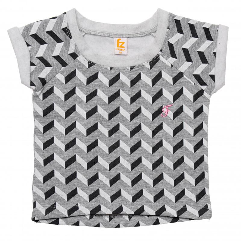 Βαμβακερή μπλούζα για κορίτσια με γεωμετρικό τύπωμα  182065