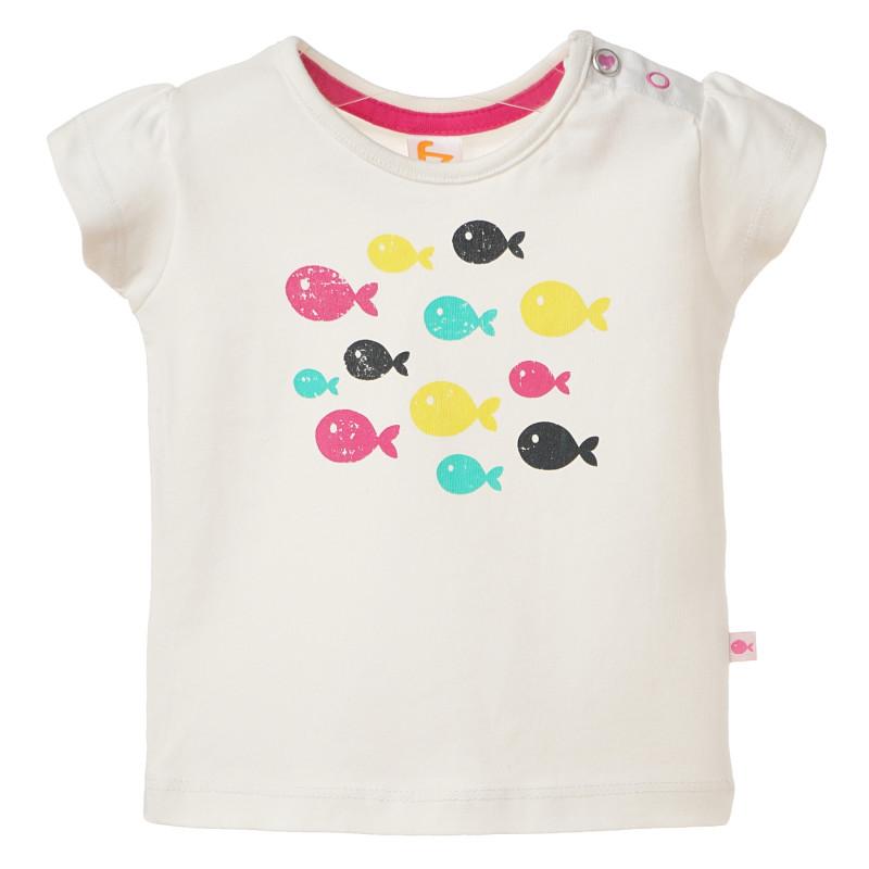 Βαμβακερό μπλουζάκι για μωρά, λευκό με σχέδια ψαριών  182073
