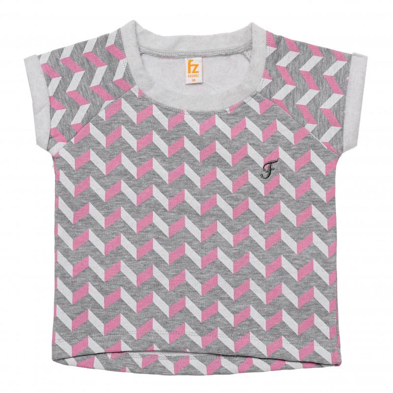 Βαμβακερό μπλουζάκι για κορίτσια με γεωμετρικό τύπωμα σε ροζ χρώμα  182077