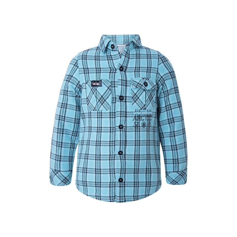 Καρό πουκάμισο με μακρύ μανίκι και μια μικρή επιγραφή για αγόρι  1824