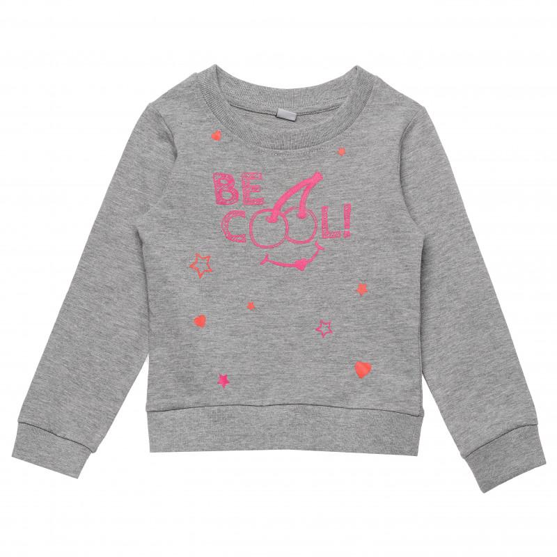 Βαμβακερή μπλούζα για κορίτσια - μπλε  182505