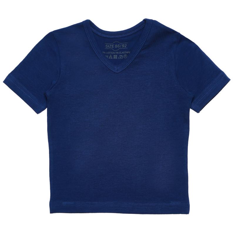 Βαμβακερό μπλουζάκι με λαιμόκοψη V για αγόρια σε μπλε χρώμα  182539
