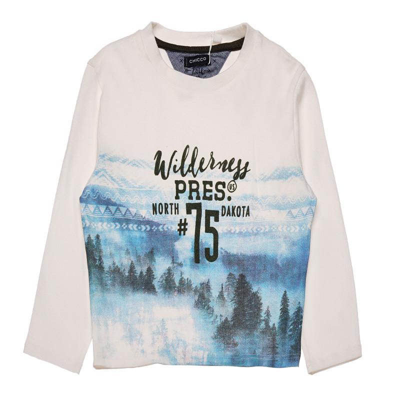 Μακρυμάνικο πουκάμισο για αγόρια με τύπωμα σε λευκό με χρωματικά αντίθετα μανίκια  182785