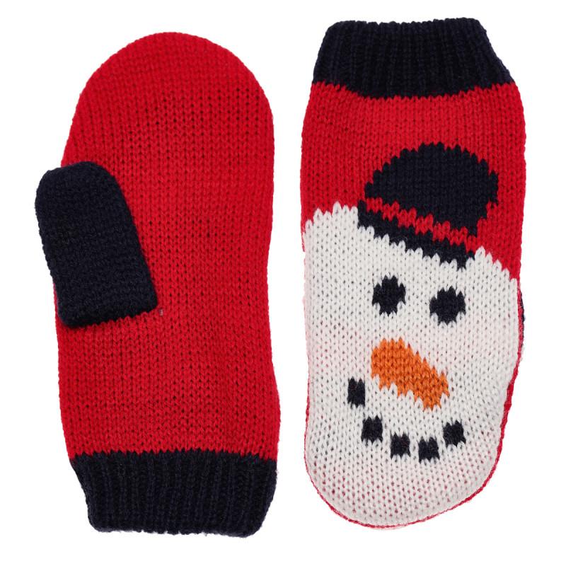 Κόκκινα πλεκτά γάντια, σχέδιο χιονάνθρωπου  182879