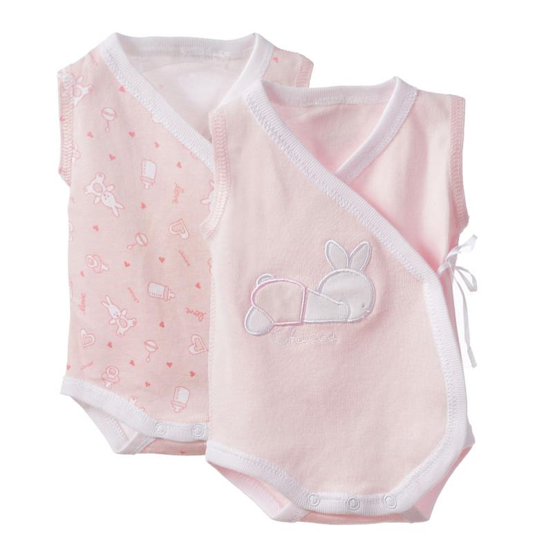 Σετ βαμβακερό κορμάκι δύο τεμαχίων για κοριτσάκια σε ροζ χρώμα  182920