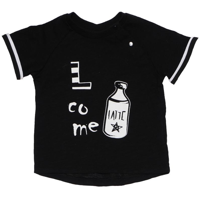 Μπλουζάκι βαμβακερό για μωρά, μαύρο  183568