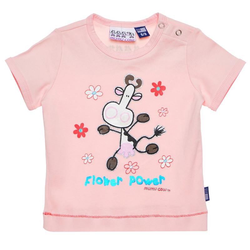 Μπλουζάκι με τύπωμα αγελάδας, ροζ  183793