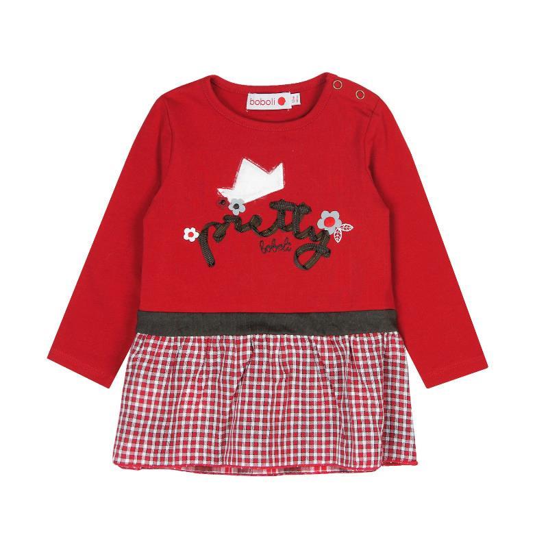 Κόκκινο μακρυμάνικο φόρεμα με απλικέ,  184