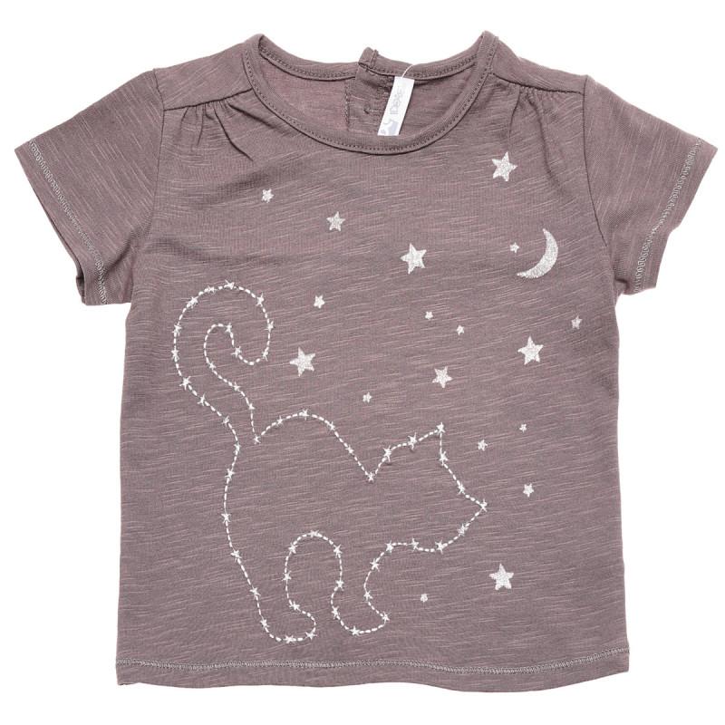 Βαμβακερή μπλούζα με κεντημένο γατάκι, για κορίτσια  184015
