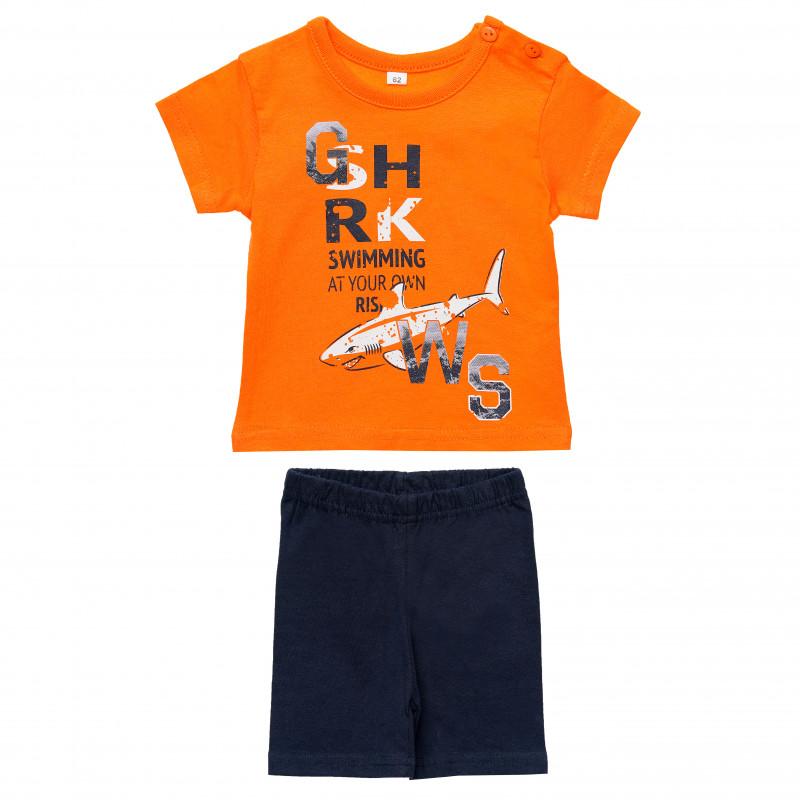 Βαμβακερό σετ δύο τεμαχίων, μπλουζάκι και σορτσάκι για αγόρια  187415