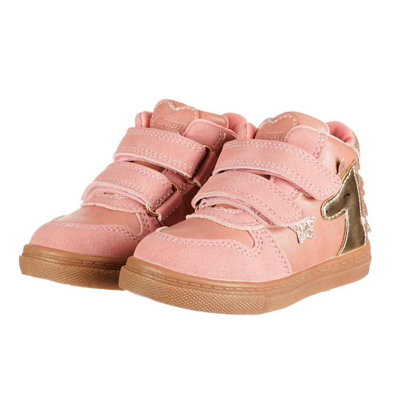 Βρεφικά μποτάκια με απλικέ μονόκερο για κορίτσι, ροζ  187986